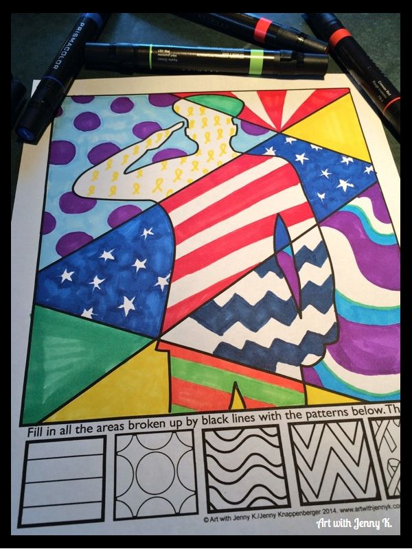 Memorial Day art lesson for kids. Students (and teachers) will love coloring these interactive Patriotic designs for memorial day. Coloring sheets with writing prompts included.