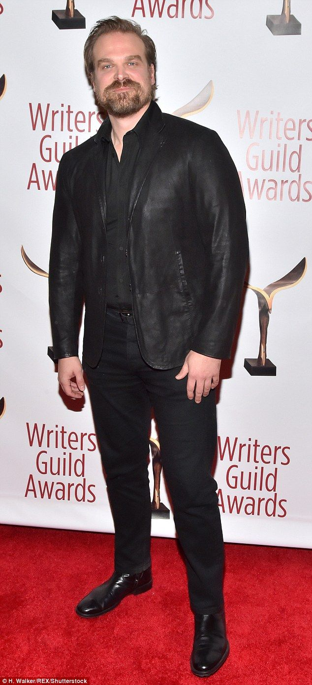 Supportive: Stranger Things star David Harbour wore an all-black ensemble to the Writers Guild Awards in New York Sunday where show creators the Duffer brothers were nominated