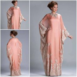 Online Shop Custom Made Hot Sale Floor Length Chiffon Coral Lace Appliqued Arabic Dubai ABAYA Kaftan Evening Dresses with Long Sleeve JQ3309|Aliexpress Mobile
