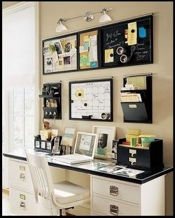 Home office ideas - wall, LOVE this setup. Will be doing this to my home office. so organized and convient.
