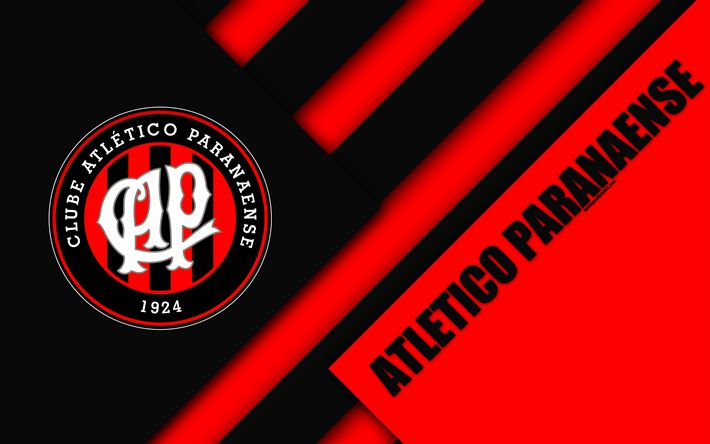 Download wallpapers Atletico Paranaense FC, Curitiba, Parana, Brazil, 4k, material design, black and red abstraction, Brazilian football club, Serie A, football