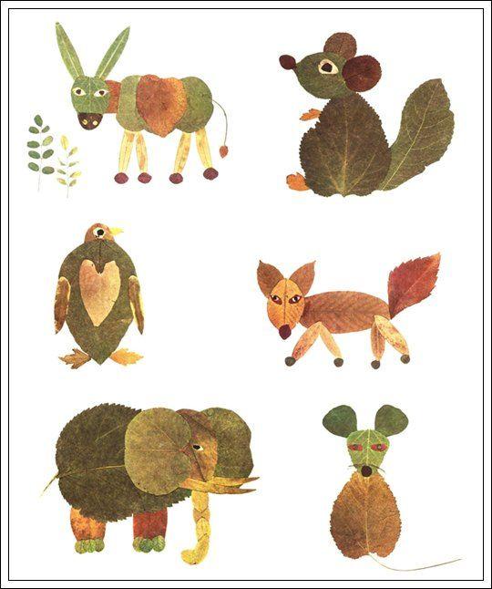 Haz con los niños animales con las hojas de otoño