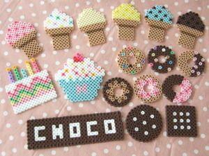 アイスクリーム - perler bead ice cream designs - Perler Bead jewelry - Fuse bead designs - Perler Bead - Perler bead art - #perlerbead