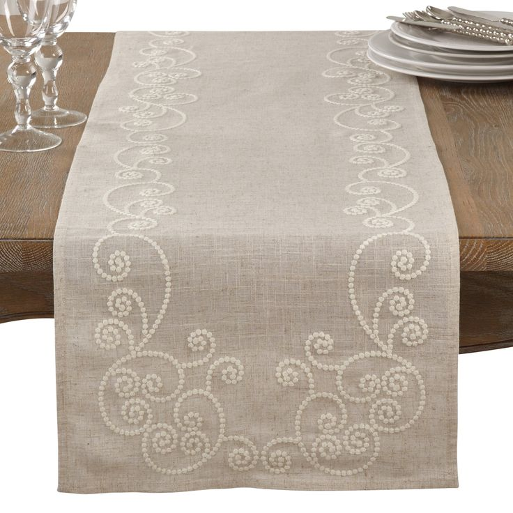 Saro Embroidered Swirl Design Linen Blend Table Runner