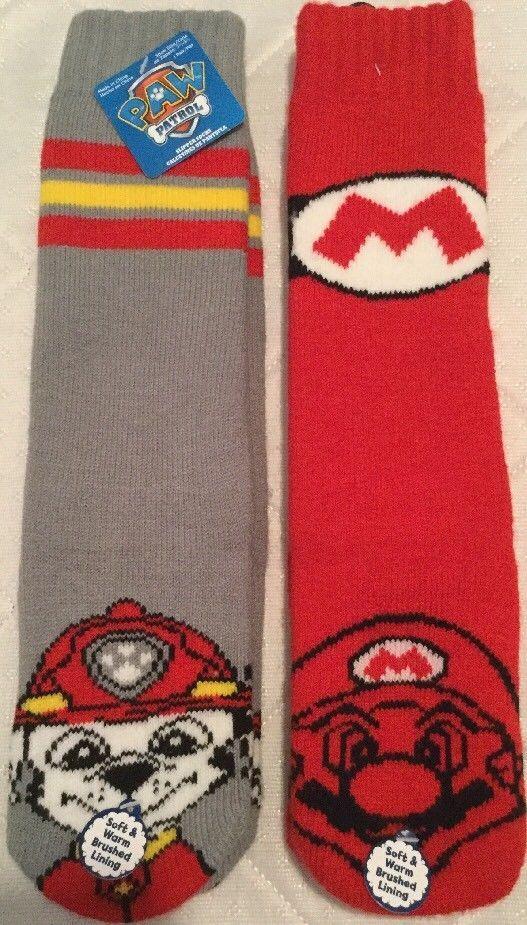 2 pairs Childrens Soft Slipper Socks Nintendo Mario Brothers and Paw Patrol NWT #Nickelodeon