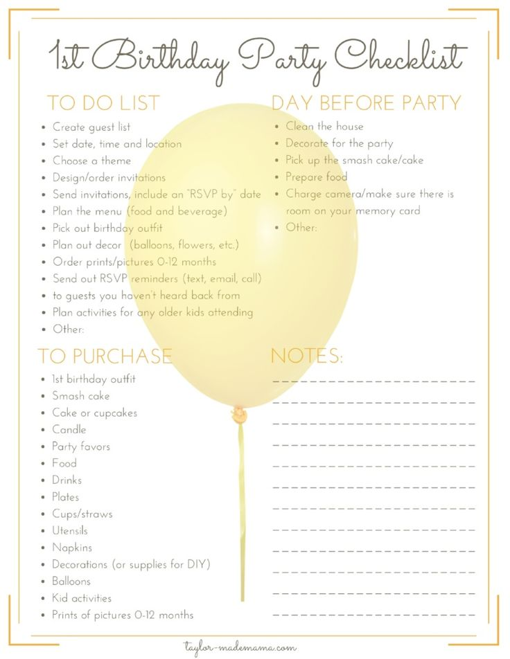 Tips to help you plan your baby's first birthday party. Including a printable checklist to make first birthday party planning simple and stress free. A printable list of unique first birthday party theme ideas is also included!