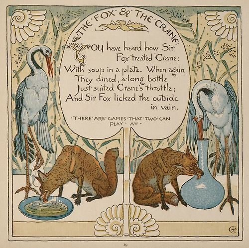 "Walter Crane.   ""The Fox and The Crane"" (1887)"