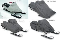 Snowmobile covers for Polaris 550 IQ Shift 2009 to 2013 snowmobiles. Choice of covers include the total cover in black, the custom fit, the universal fit and the underliner.