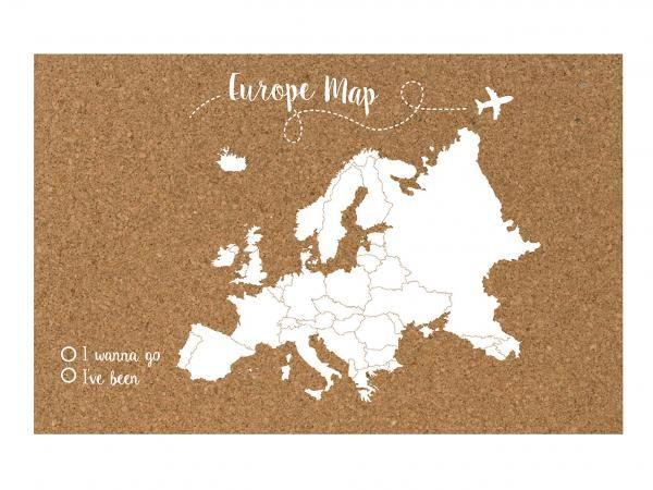 Oferta - Mapa de Europa de corcho con 40 chinchetas, blanco - 90x60 cm (Cuenca)