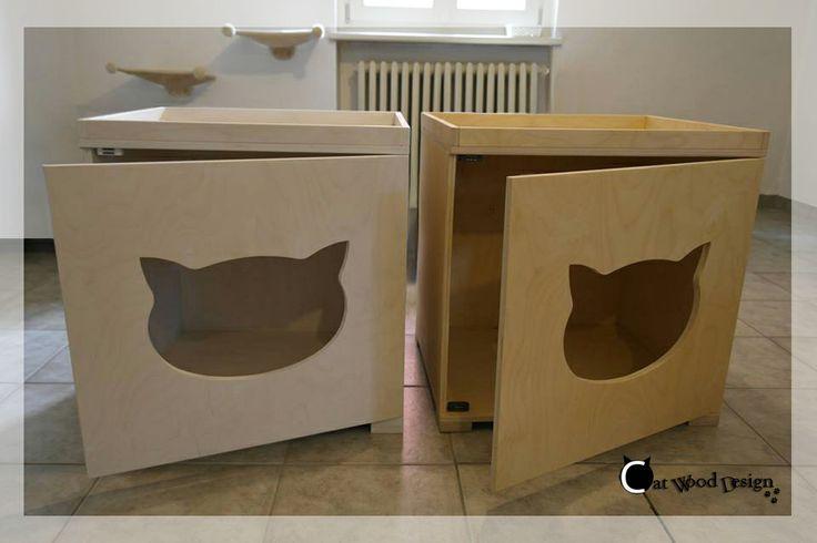 #cat-#toilet sbiancata e tinta legno #lettiera #gatti