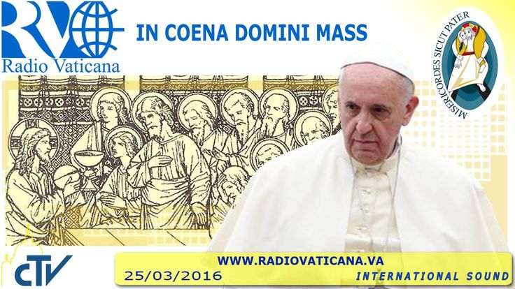"""In Coena Domini Mass 2016.03.24 Pope Francis celebrates the """"Last Supper Mass"""" (Lord's Supper) in a care center for refugees in Castelnuovo di Porto, 30 kilometers from Rome. There, in accordance with the custom of Holy Thursday, he washes the refugees' feet, just as Jesus did with his disciples at the Last Supper"""