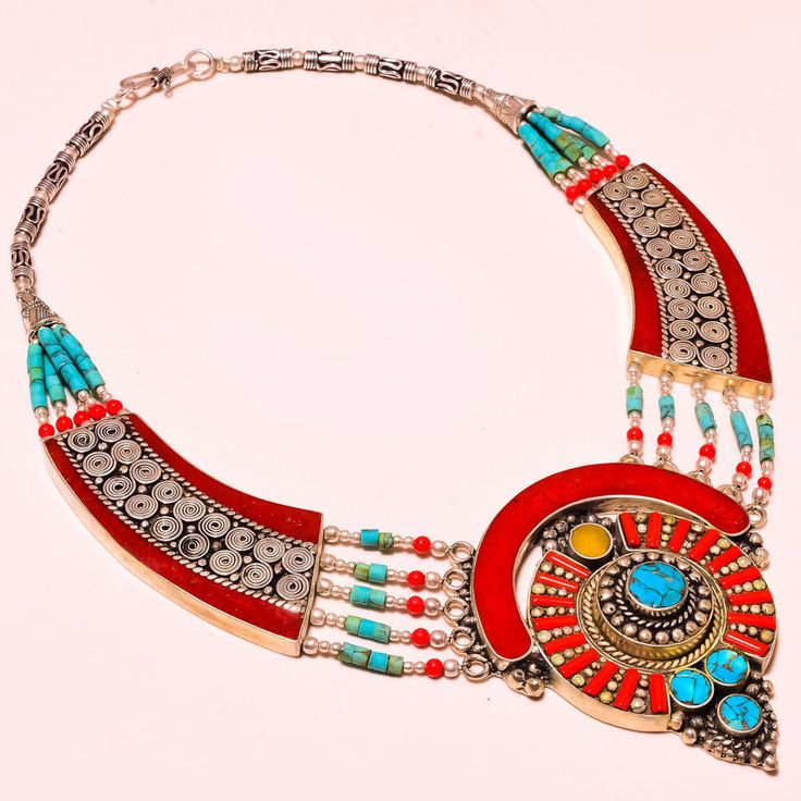 """Latest Yellow & Red Coral With Turquoise Store Gemstone Jewelry Necklace 18"""" #Handmade #Choker"""