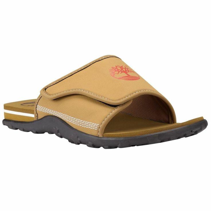 Timberland Men's Fells Slide Sandals Slipper Flip Flops Camel WHEAT Style #6524A #Timberland #FlipFlops
