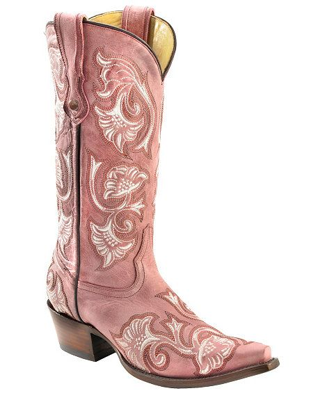 Corral Floral Embroidered Pink Cowgirl Boots - Snip Toe