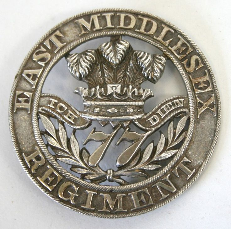British; 77th (the East Middlesex) Regiment of Foot, Officer's Cast Silver Pagri Badge, 1870-81