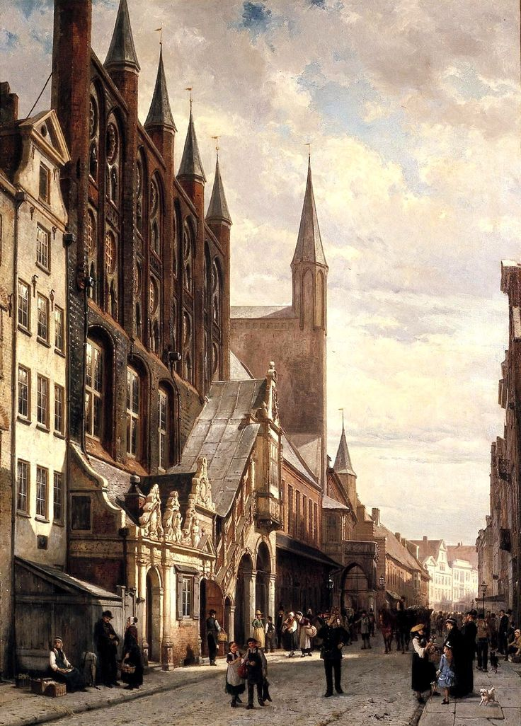"""Cornelis Springer, a Dutch artist, painted many historic towns in Europe.  As Christie's puts it, """"Springer usually concentrated on the most beautiful and historically important buildings of a town."""" Certainly this 1885 painting, Lübeck Town Hall, qualifies for that description.  The Renaissance staircase (highlighted here by a patch of sun) is one of the most striking pieces of architecture in Lübeck."""