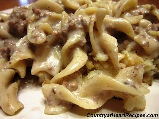 Simple Stroganoff (uses ground beef, onion, garlic pwdr, onion pwdr, cream of mushroom soup, egg noodles, water, cream cheese, sour cream)