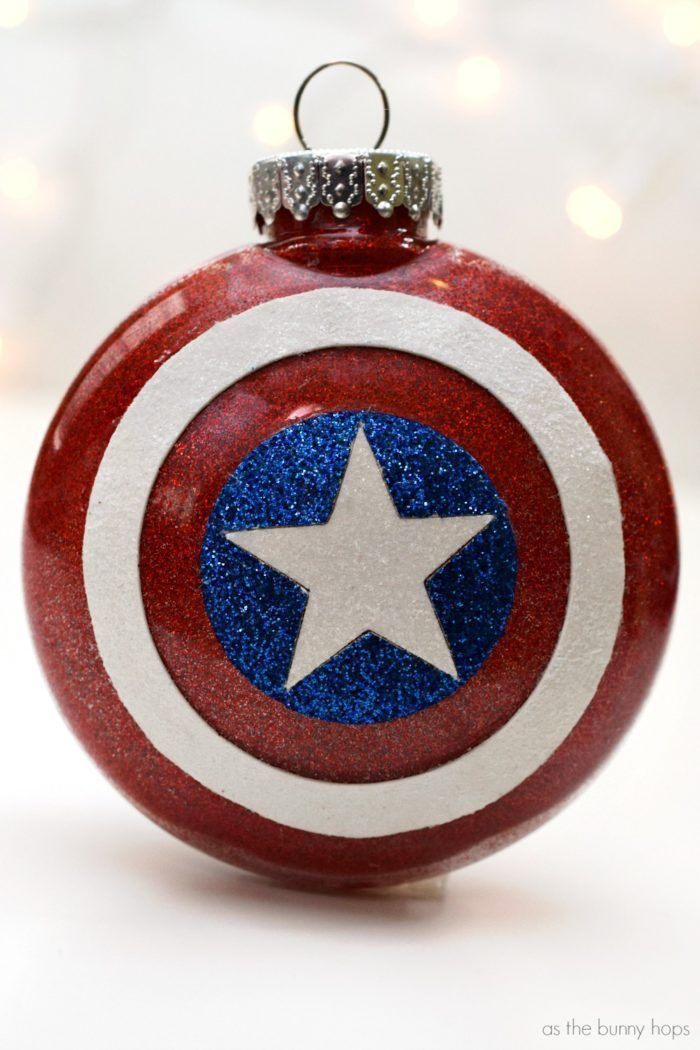 Celebrate The First Avenger When You Make Your Own Glittery Captain America Christmas Ornament Christmas Ornaments Nerdy Christmas Disney Christmas Ornaments