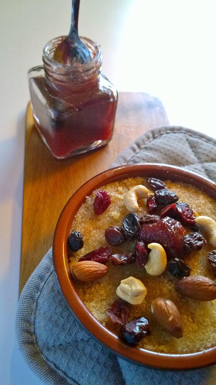 Greek semolina halva with nuts, raisins, cranberries and cranberry sauce from Karpenisi region.
