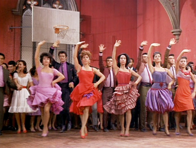 """West Side Story, """"Mambo!"""", Rita Morena's orchid dress by Irene Sharaff, 1961"""