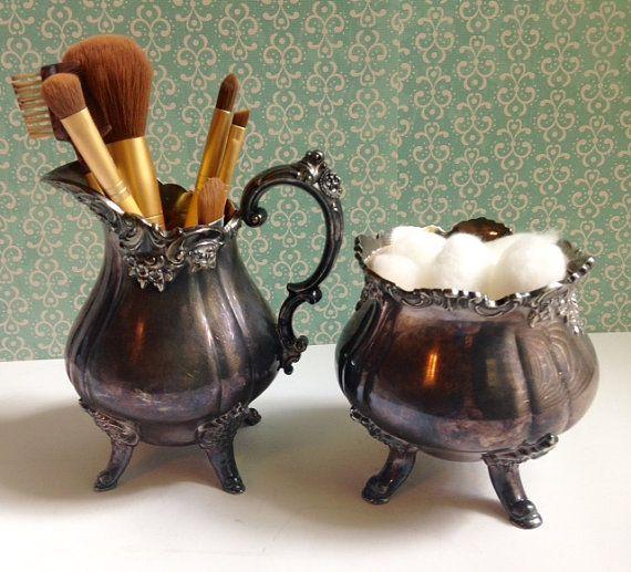 Creamer and Sugar Bowl Silver Plate Vintage by VintageMetalsReborn