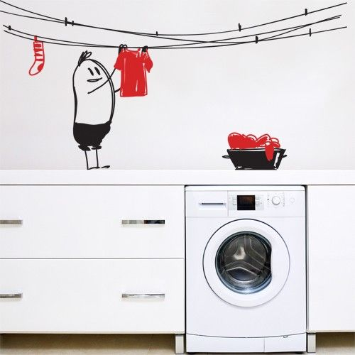 """Let Wally do your laundry! Create a decorative space with fun Wally vinyl wall sticker from the """"wally my wall buddy"""" vinyl wall decor series. This wall decal can be applied in kids' rooms or play areas to create a unique funny scene.$59.95"""