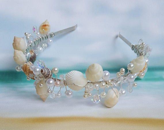 Free Shipping Beach Bridal Tiara,Wedding Shell Headpiece,Pearl Starfish Crown,Wedding Accessories,Mermaid Hair,Flower girl tiara,Shell crown