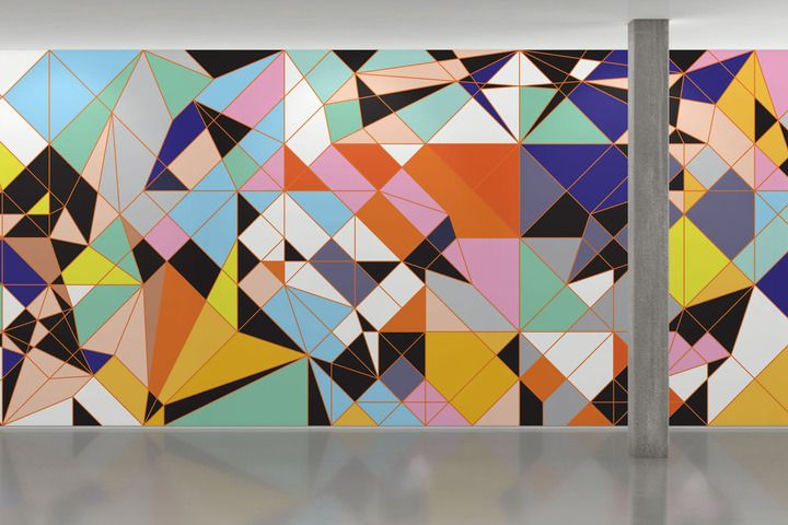 Sarah Morris's work often employs vividly colored shapes in a grid-and-tile structure. Taurus, which was originally executed in household gloss, is highly dimensional while also super flat. - Maharam