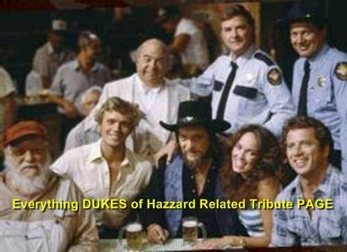 The cast of The Dukes of Hazzard and Waylon Jennings — with Denver Pyle, John Schneider, Sorell Booke, Waylon Jennings, James Best, Catherine Bach, and Tom Wopat.