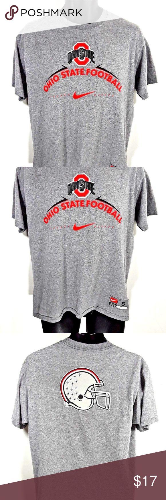 NIKE OHIO STATE BUCKEYES Football T-SHIRT SIZE S NIKE OHIO STATE BUCKEYES Football T-SHIRT, Men's S Small Gray helmet on back Nike Shirts Tees - Short Sleeve