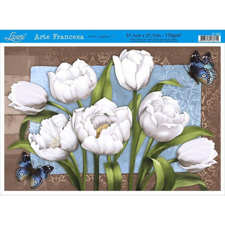 Papel para Arte Francesa Litoarte 21 x 31 cm - Modelo AF-260 Tulipa - CasaDaArte