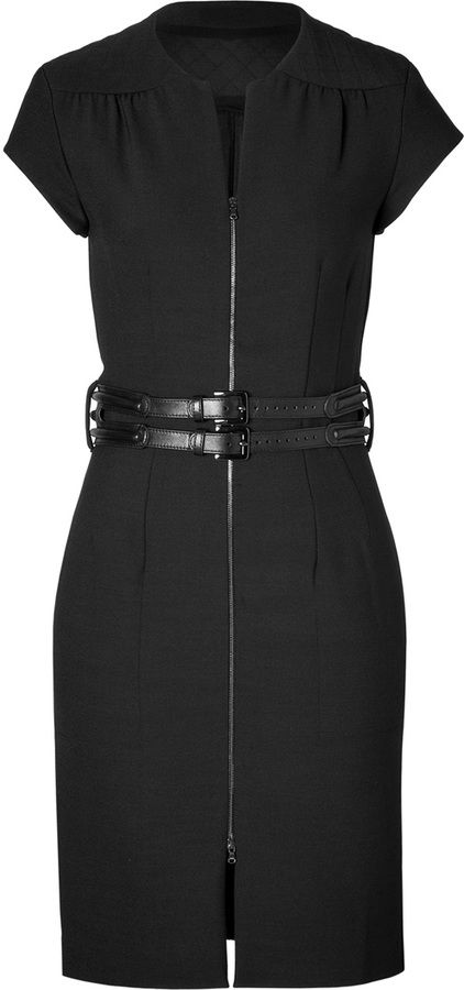 LAgence Quilted Zip Front Dress in Black