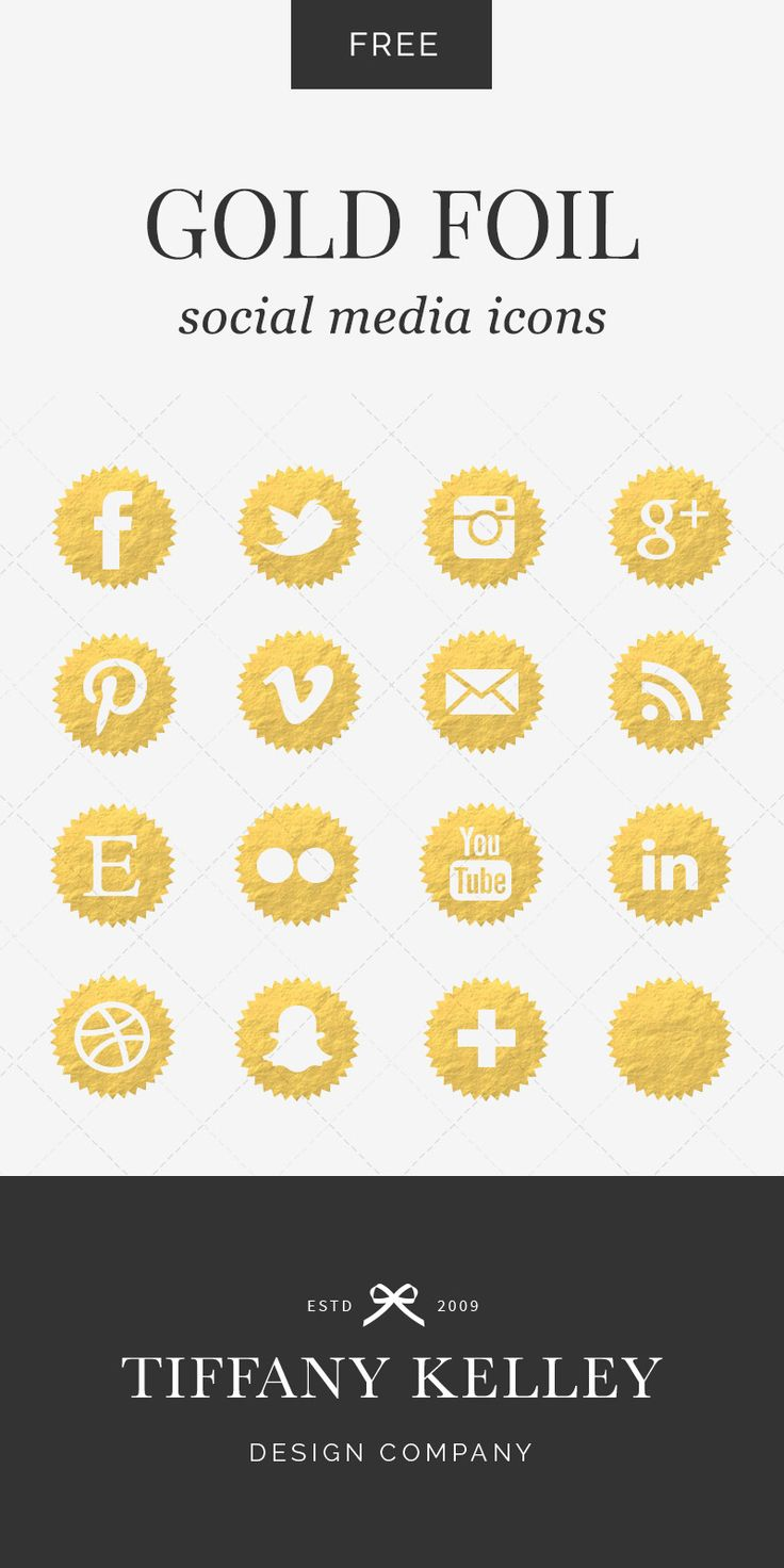 Enjoy these free gold foil social media icons! #tiffanykelleydesign #graphicdesigner #foil #gold #socialmedia #icons #facebook #twitter #pinterest #instagram #snapchat #free #download