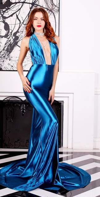 01742bd1a879a83 Глянцевый синий атласное платье сексуальное Встроенная Макси пол Длина