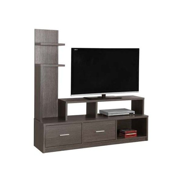 Monarch Specialties I 2698 60 Inch x 16 Inch Wood TV Stand Gray Indoor ($317) ❤ liked on Polyvore featuring home, furniture, storage & shelves, entertainment units, entertainment, grey, indoor furniture, tv stand, gray tv stand and wood media stand