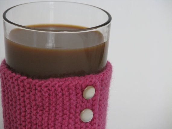 Knitted Cup Cozy Sleeve Pink Wool by AGirlNamedMariaDK on Etsy #cup #cups #mug #mugs #warmer #warmers #cozy #cozies #coffee #tea #cocoa #hot #drink #drinks #etsy #agirlnamedmariadk #tableware #danish #denmark #design #scandinavia #scandinavian #knitted #knit #knitting #buttons #plastic #wool #pink #fuchsia #cerise #raspberry