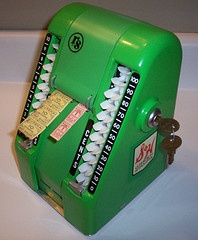 Oh my, I had forgotten about these! S & H green stamp machine.