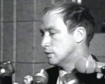 """Then-Justice Minister for Lester B. Pearson's government (and future Prime Minister) Pierre Trudeau telling CBC news cameras, """"There's no place for the state in the bedrooms of the nation, and what's done in private between adults doesn't concern the Criminal Code,"""" following his introduction of the parliamentary act that would decriminalize homosexuality and liberalize abortion rights for women, 1967, Ottawa, Canada."""