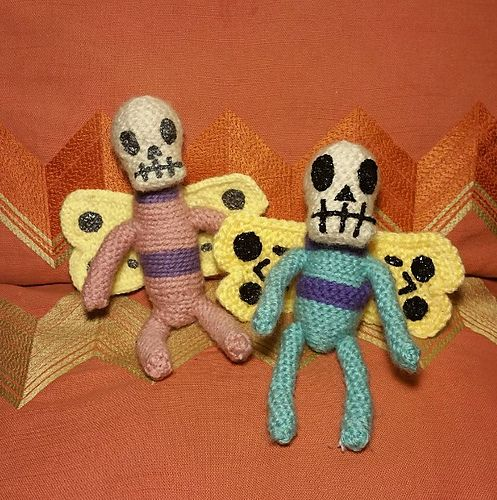 Skeleton Butterflies from Adventure Time - one of my proudest amigurumi creations! Regularly available for sale in my Etsy shop: https://www.etsy.com/shop/teliches