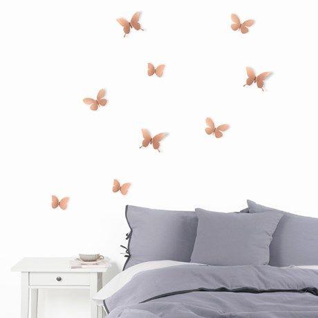 Sett opp kobberfargede eller sølvfargede sommerfugler ...
