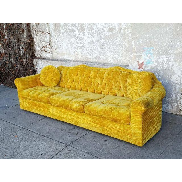 Bassett Vintage Chesterfield Gold Sofa Hollywood Regency Wedding Tufted Velvet Gold Sofa Vintage Sofa Sofa
