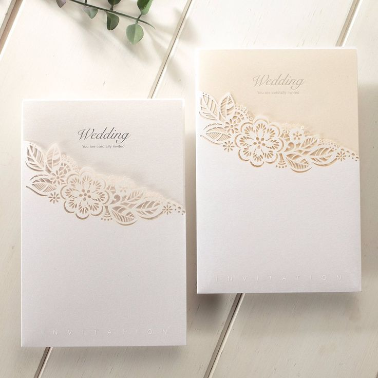 Laser Cut Pocket Floral Lace Wedding Invitations