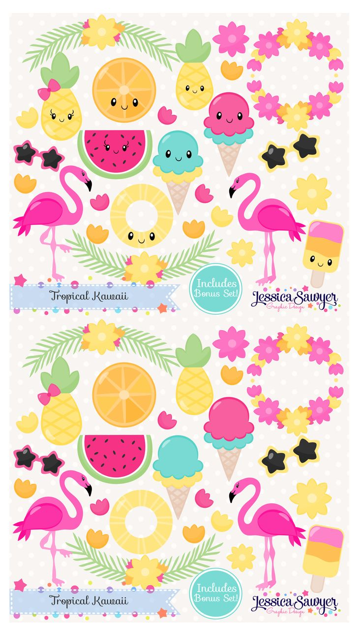 Summer Kawaii Clipart. I had so much fun drawing these flamingos!