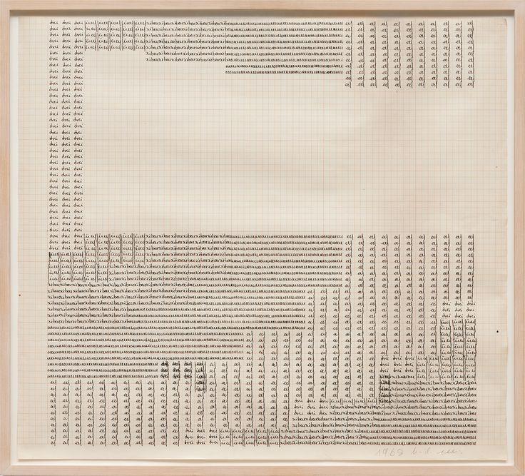 Pabellón Hall 9- Stand B14. Hanne Darboven es una artista conceptual alemana que se dio a conocer por sus instalaciones minimalistas de números escritos en tablas. Consideraba su arte una forma de escritura, y para ello empleó elementos audiovisuales.