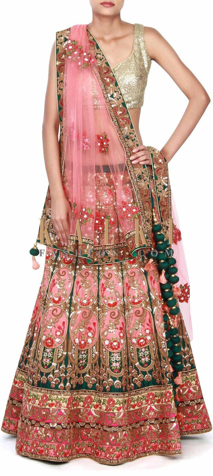 Buy this Pink lehenga adorn in resham and zardosi embroidery only on Kalki