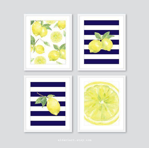 Lemon Prints Fruit Wall Decor Lemon Kitchen Wall Art Lemon Decor Navy Blue And Yellow Set Of 4 Yellow Kitchen Decor Lemon Kitchen Decor Blue Kitchen Decor