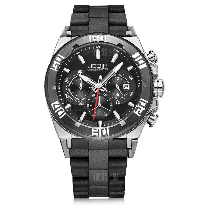 [ $54.40 ] JEDIR 3009 Casual Silicone Strap Men Quartz Watch  -  BLACK