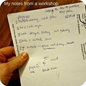 How to do Tai Chi at home - example for my workshop notes (Tai Chi workshop in 2008!)