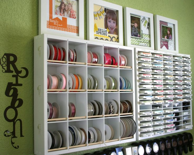 Craft Room Organization — Love the framed scrapbook pages!