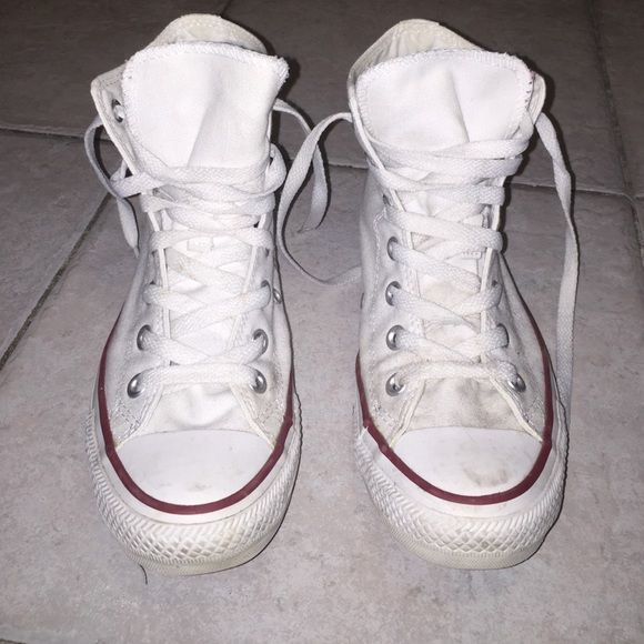 Converse Chuck Taylor White High Tops Worn 7 to 10 times, these white high tops just need a little detergent to clean the any scuffs and dark spots (which is actually quite minimal). Converse Shoes Sneakers